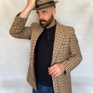 Vintage Lanvin Camelhair Checkered Sports Coat